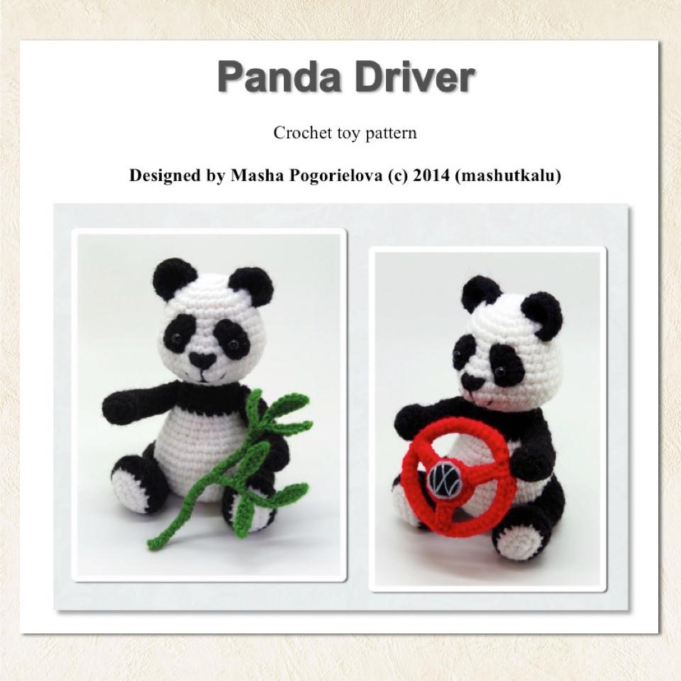 Вязание игрушки панды крючком 58