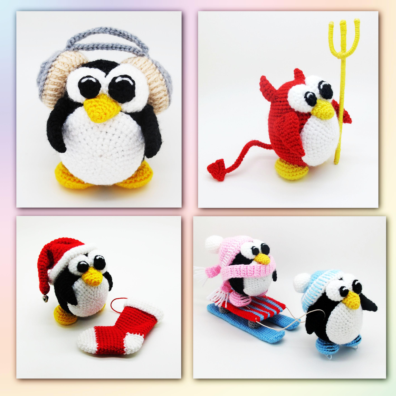 вязаные пингвины 4 мк игрушка крючком