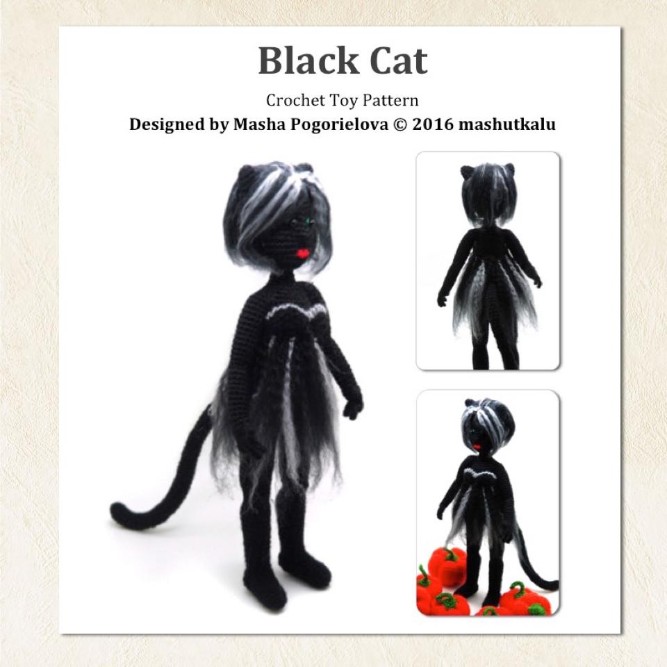Amigurumi black cat | Pattern included in the